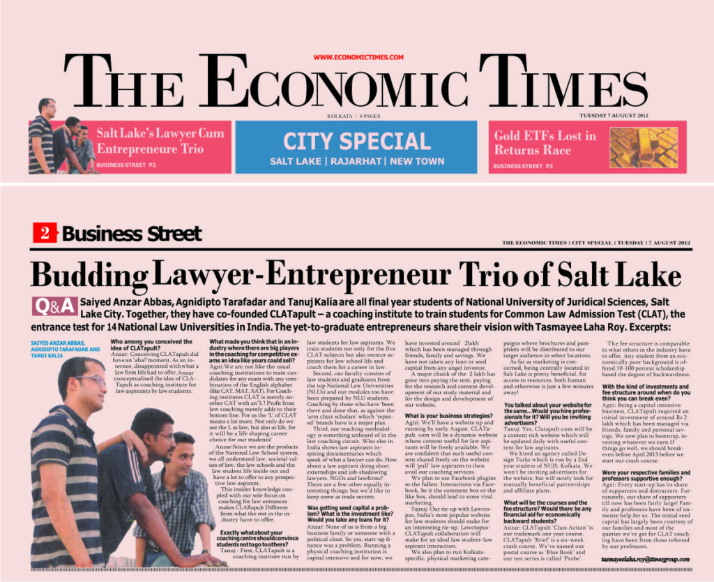 CLATapult on the Economic Times