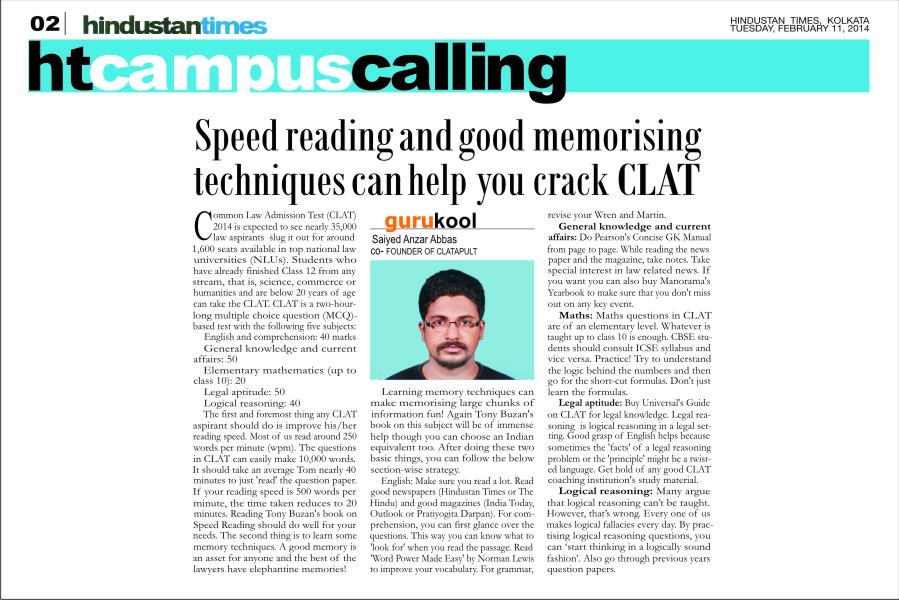 CLATapult on Hindustan Times